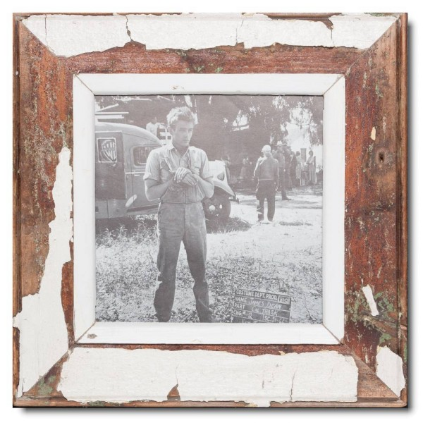 Square reclaimed wood photo frame for photo format A4 square
