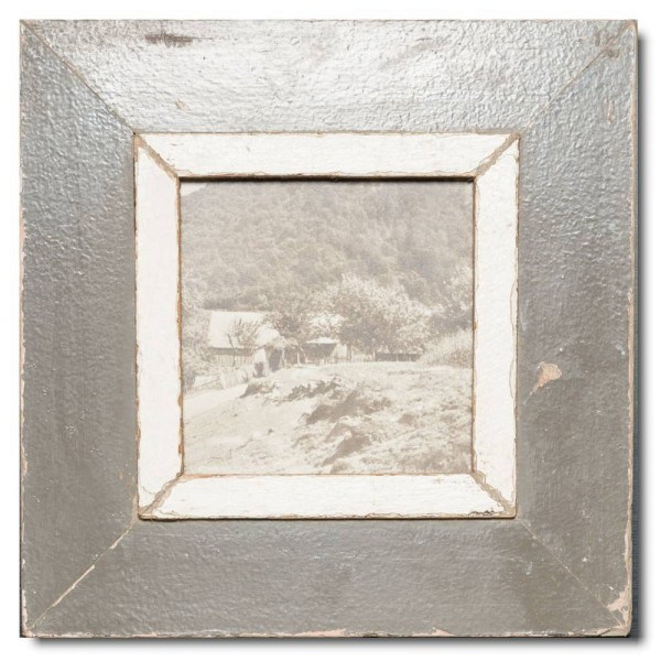 Square distressed wooden frame square for photo format 14,8 x 14,8 cm