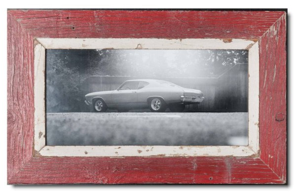 Panoramic distressed wooden picture frame for photo size 42 x 21 cm