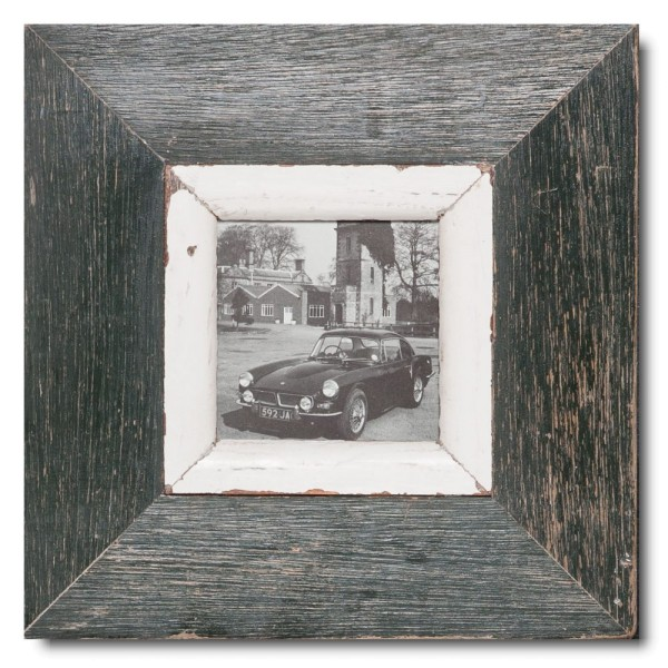 Square reclaimed wood photo frame for picture format A6 square