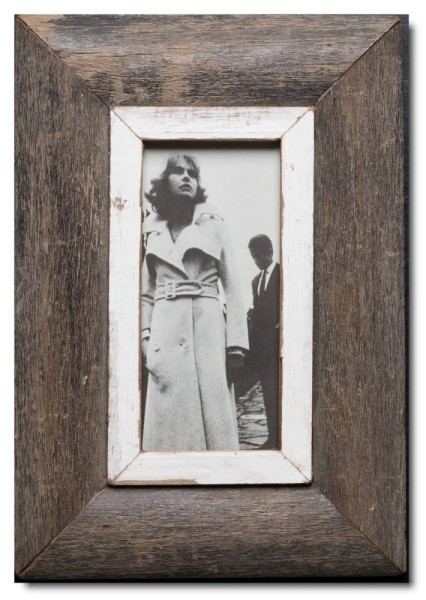 Panoramic reclaimed wood photo frame for photo format 2:1