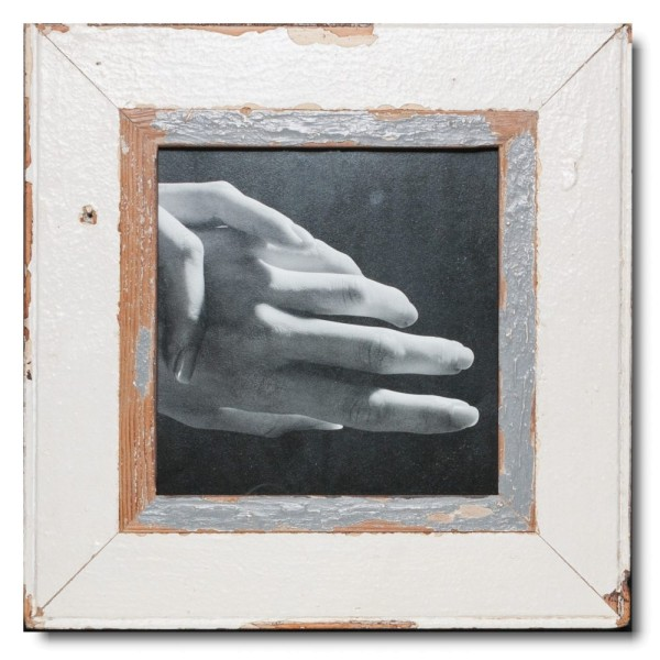 Square distressed wooden picture frame for picture size A4 square