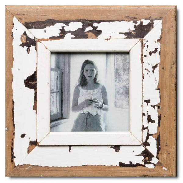 Square reclaimed wood photo frame for picture format 14,8 x 14,8 cm