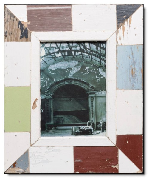 Mosaic reclaimed wood photo frame for picture format 21 x 14.8 cm