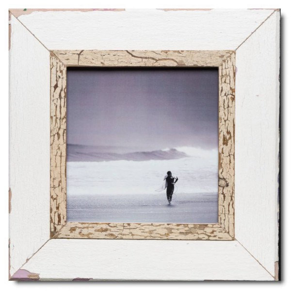 Square reclaimed wood photo frame for photo format 21 x 21 cm