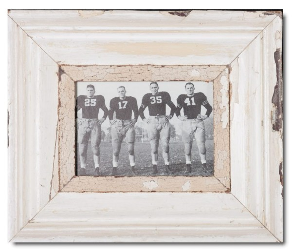Wide distressed wooden picture frame for photo format A5