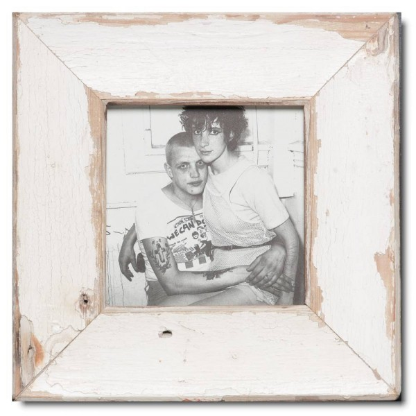 Square reclaimed wood photo frame for picture format A5 square