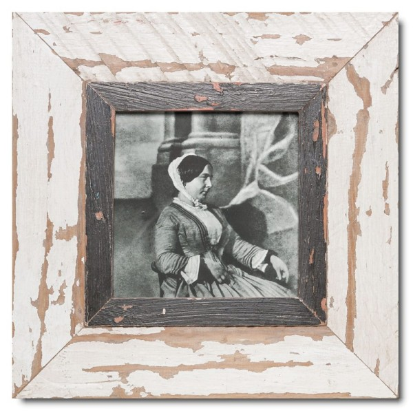 Square reclaimed wood photo frame for photo size 14,8 x 14,8 cm