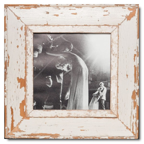 Square distressed wooden picture frame for picture format 21 x 21 cm