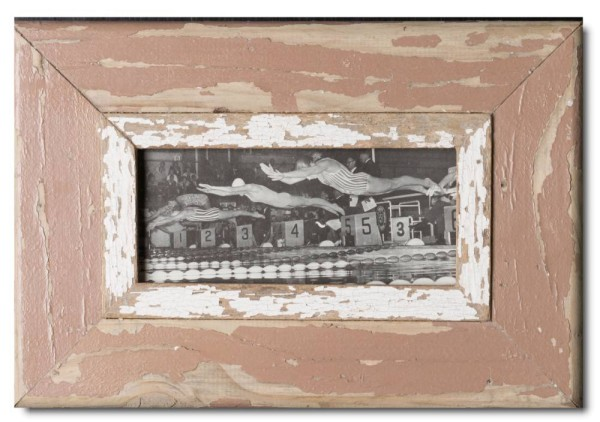 Panoramic rustic timber picture frame for photo size 2:1