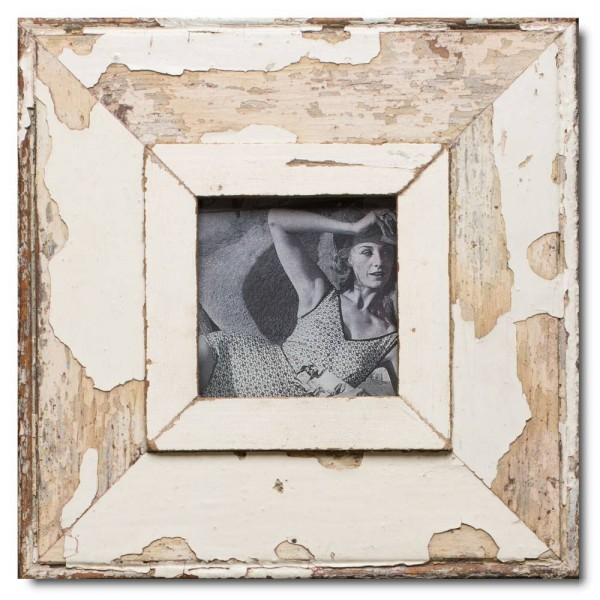 Square distressed wooden picture frame for picture format 10,5 x 10,5 cm