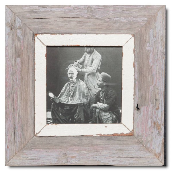Square distressed wooden picture frame for picture size 14,8 x 14,8 cm
