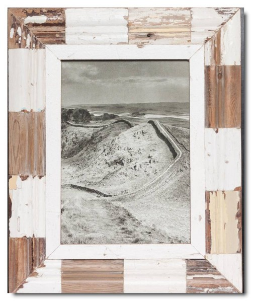 Mosaic reclaimed wood photo frame for picture size 29,7 x 21 cm