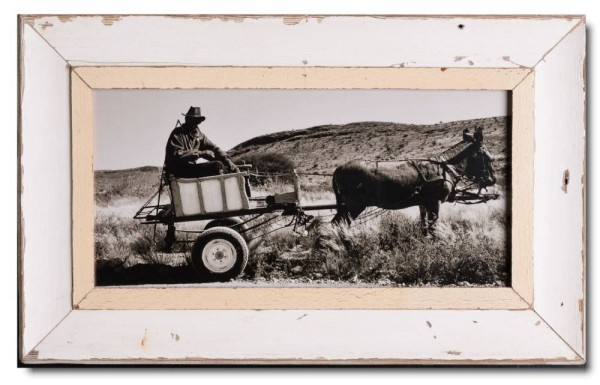 Panoramic distressed wooden frame square for picture format 42 x 21 cm