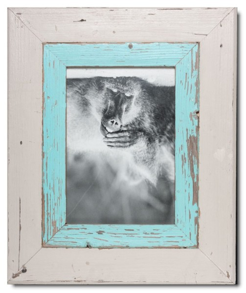 Wide distressed wooden picture frame