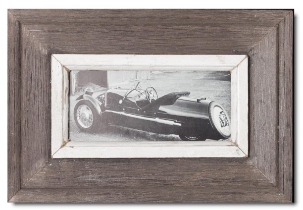 Panoramic rustic timber photo frame for photo format 21 x 10,5 cm