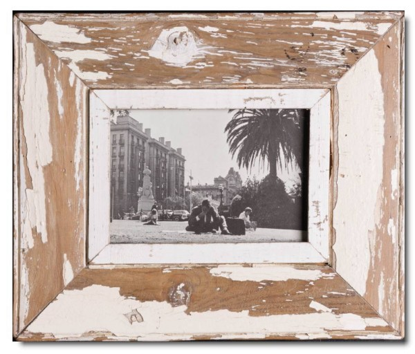 Wide reclaimed wood photo frame for picture format A5