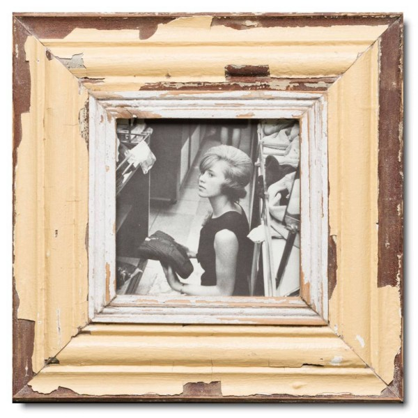 Square distressed wooden frame square for photo size 14,8 x 14,8 cm