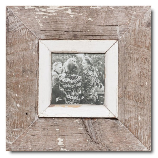Square reclaimed wood photo frame for picture size A6 square