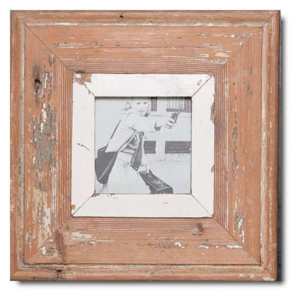 Square rustic timber picture frame for picture size 10,5 x 10,5 cm