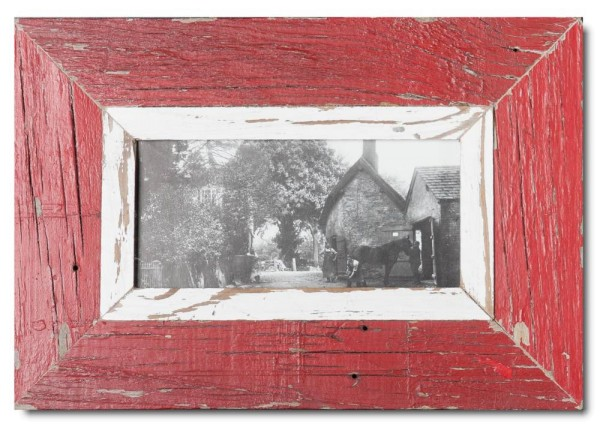 Panoramic rustic timber picture frame for picture format A5 panoramic