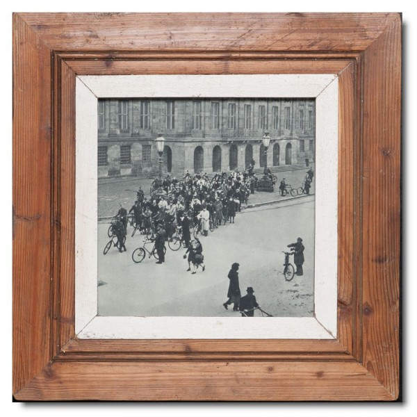 Square distressed wooden picture frame for photo size A4 square