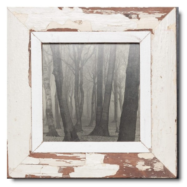 Square rustic timber picture frame for photo format 21 x 21 cm