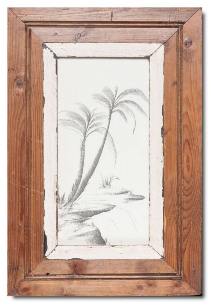 Panoramic distressed wooden picture frame for picture size 29,7 x 14,8 cm