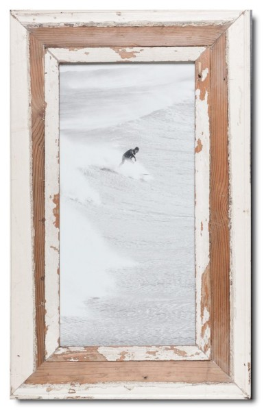 Panoramic reclaimed wood picture frame for picture format 42 x 21 cm