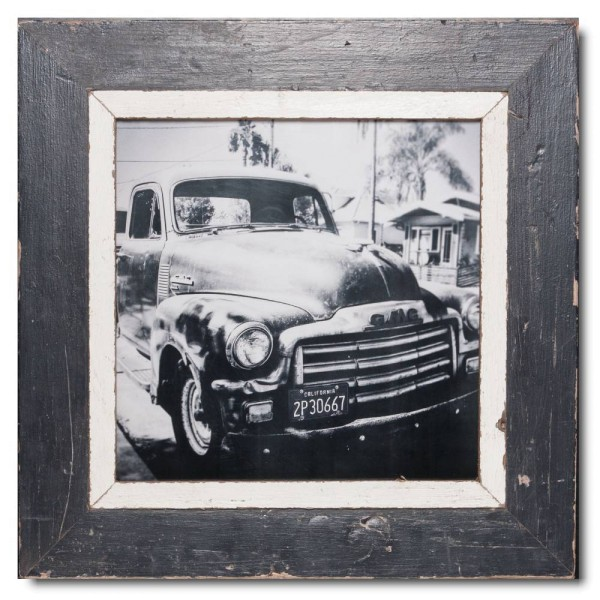 Square distressed wooden picture frame for picture size A3 square