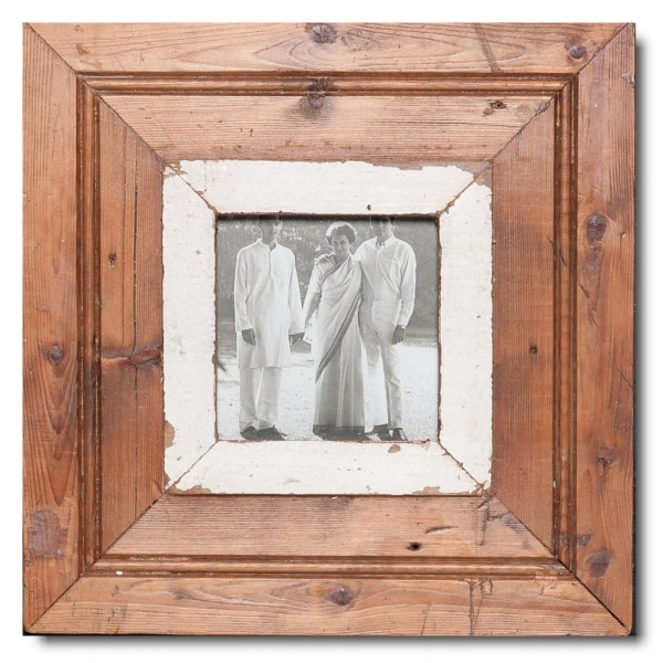 Square Reclaimed wood frame for photo format 10,5 x 10,5 cm