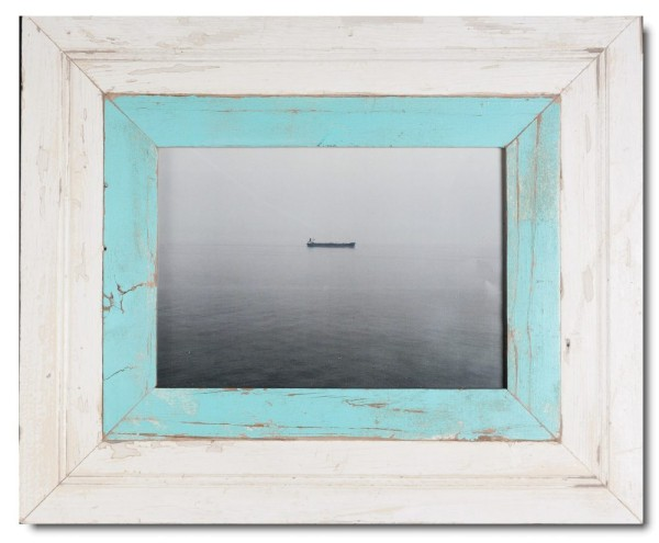 Wide distressed wooden frame square for picture format A4