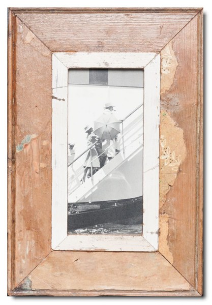 Panoramic distressed wooden picture frame for photo size 21 x 10,5 cm