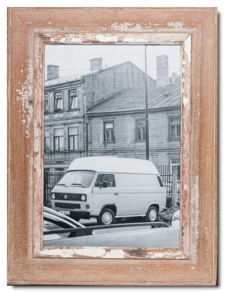 Distressed wooden picture frame for photo format 42 x 29,7 cm