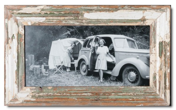 Panoramic distressed wooden frame square for photo size 42 x 21 cm