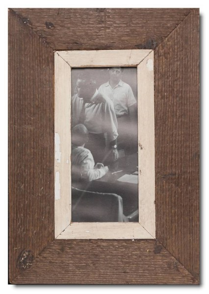 Panoramic rustic timber photo frame for picture format 21 x 10,5 cm