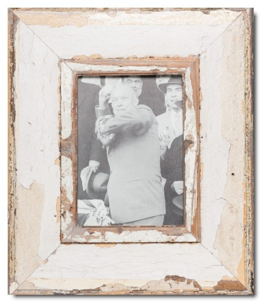 Wide reclaimed wood picture frame for photo format A5