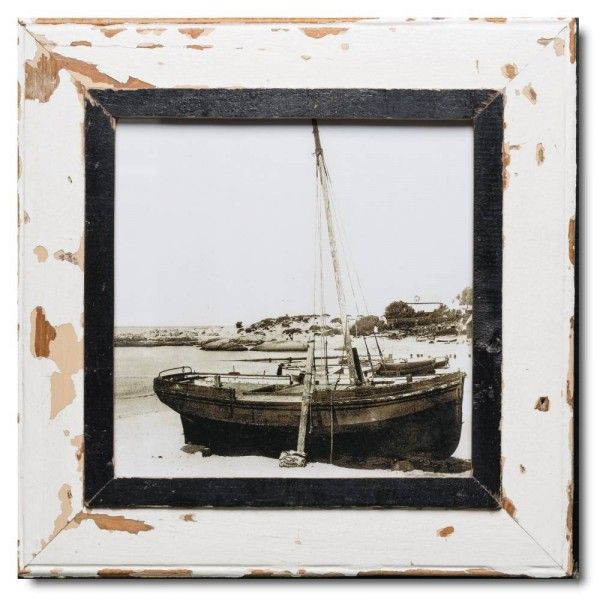 Square distressed wooden picture frame for picture format A3 square