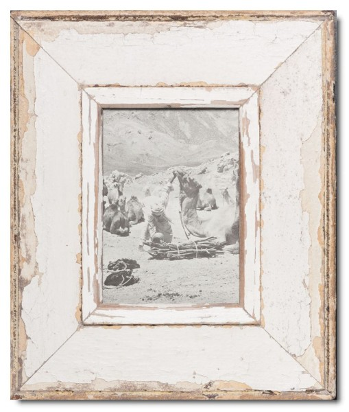 Wide distressed wooden frame square for photo size 21 x 14,8 cm