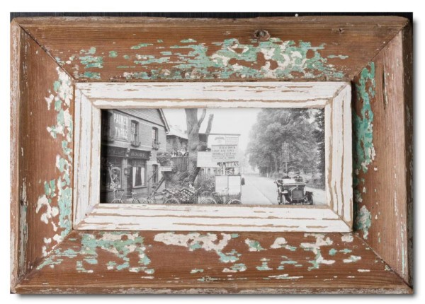 Panoramic distressed wooden frame square for picture size A5 panoramic