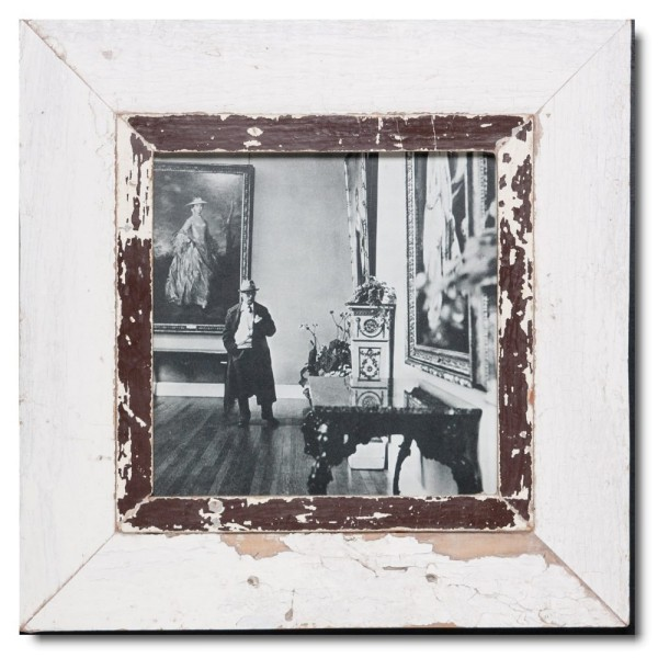 Square distressed wooden picture frame for photo format A4 square