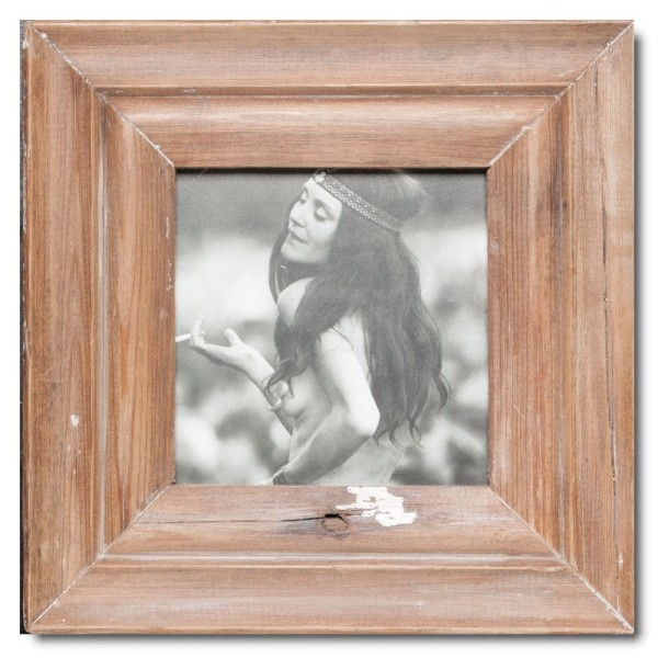 Square Reclaimed wood frame for picture size 14,8 x 14,8 cm