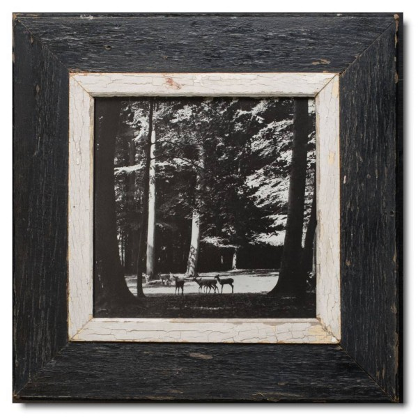 Square reclaimed wood picture frame for photo format A4 square