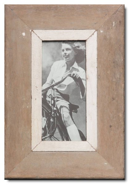Panoramic distressed wooden picture frame for picture format 21 x 10,5 cm