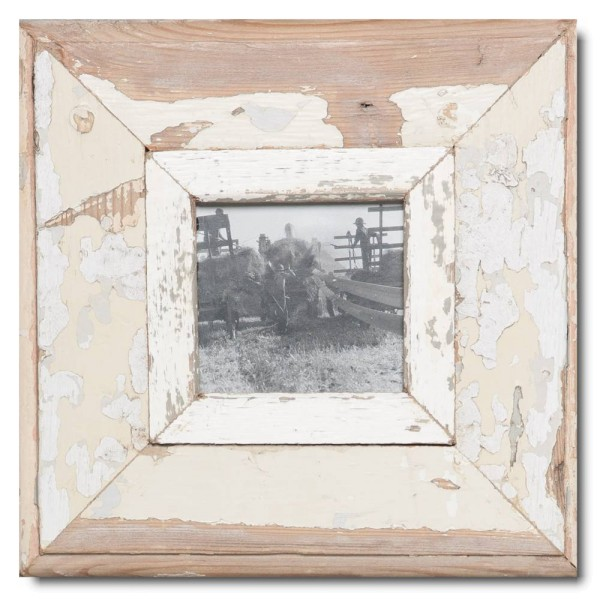 Square reclaimed wood photo frame for photo size A6 square