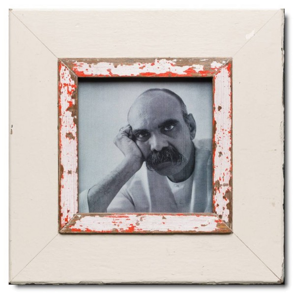 Square reclaimed wood picture frame for photo size 14,8 x 14,8 cm