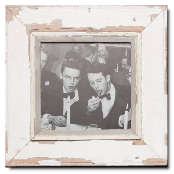 Square distressed wooden frame square for picture format 21 x 21 cm