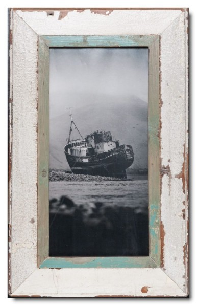 Panoramic rustic timber photo frame for photo format A3 panoramic