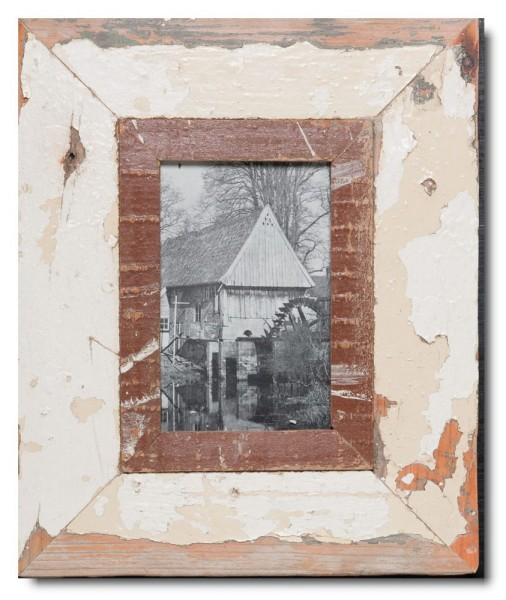 Rustic timber photo frame for picture format 14,8 x 10,5 cm