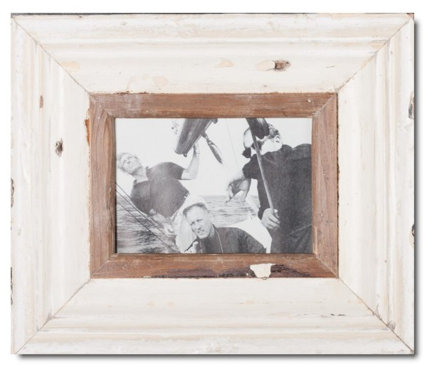 Wide reclaimed wood picture frame for photo size A5